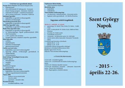 Program Zilele Sfantul Gheorghe 2015